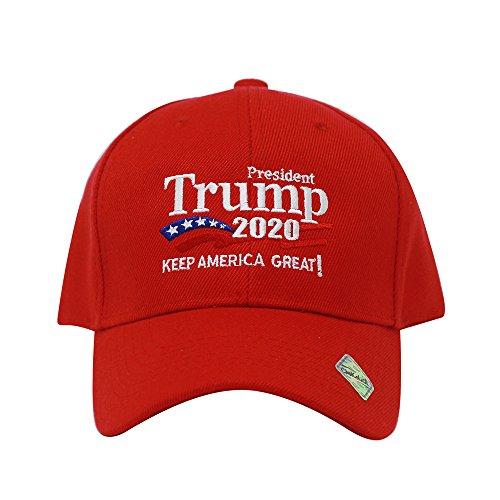 (ChoKoLids Trump 2020 Keep America Great Campaign Embroidered USA Hat | Baseball Bucket Trucker Cap (Ball Cap Red))