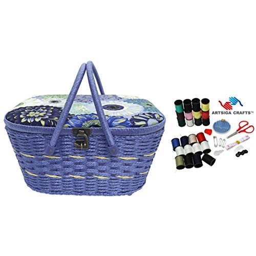 Check Out This Dritz Sewing Basket Large Picnic (14 L x 10 W x 7 H) Floral in Periwinkle & Blue +...