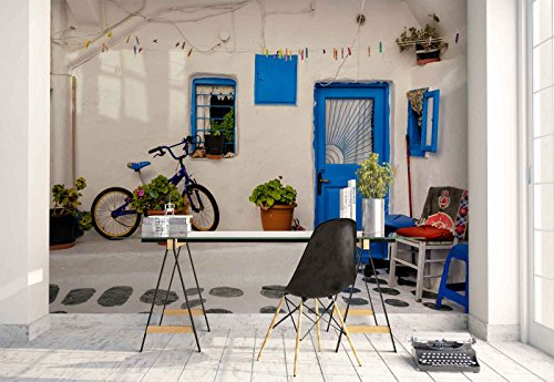 Photo wallpaper wall mural - House Wall Yard Bicycle Plants Terrace - Theme Travel & Maps - XL - 12ft x 8ft 4in (WxH) - 4 Pieces - Printed on 130gsm Non-Woven Paper - 1X-1201493V8 by Fotowalls Photo Wallpaper Murals