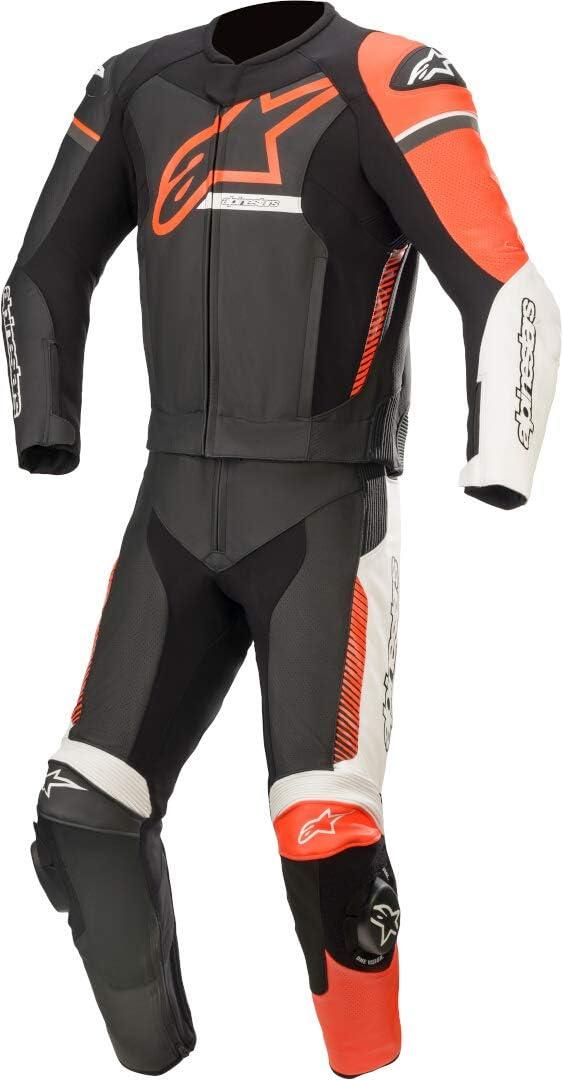Alpinestars GP Force Phantom - Traje de piel para motocicleta, 2 piezas, color negro, blanco y rojo 54
