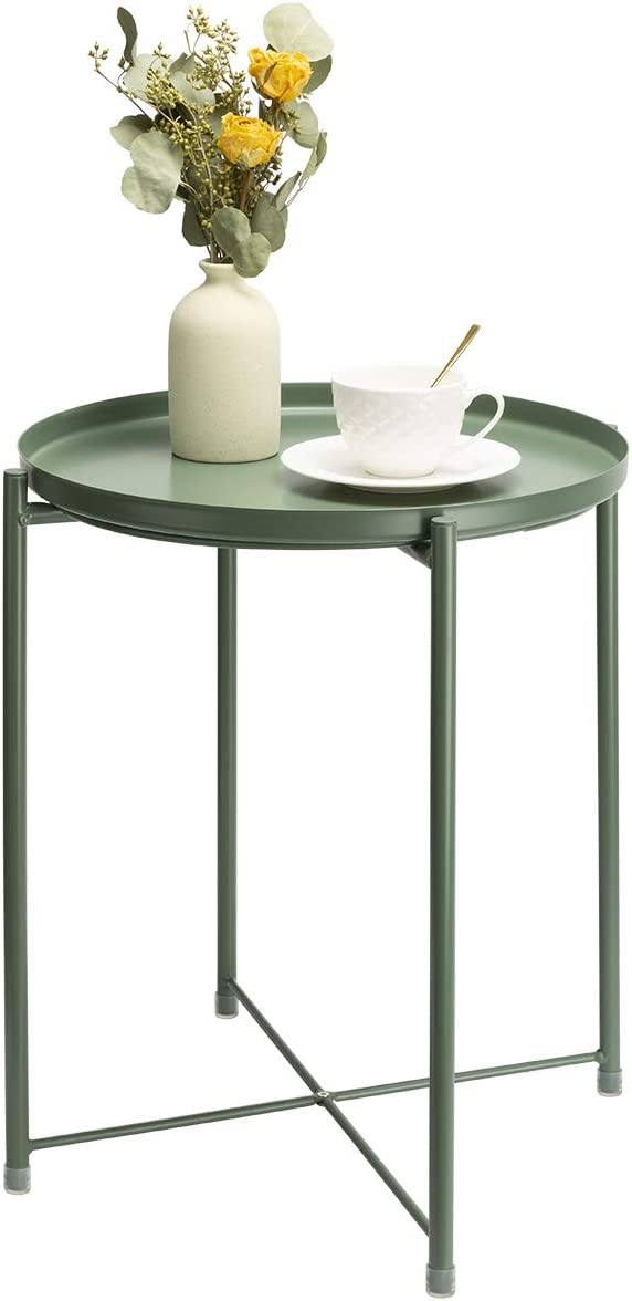 danpinera End Table, Side Table Metal Waterproof Small Coffee Table Sofa Side Table with Round Removable Tray for Living Room Bedroom Balcony and Office (Dark Green)