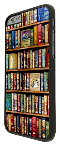004 - Vintage Library Look Books Shelves Design iphone 6 6S 4.7'' Coque Fashion Trend Case Coque Protection Cover plastique et métal - Noir