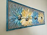 Recycled Old window Screen hand painting '' Flowers''Blue and Yelow Original Art hand painted screen,made to order