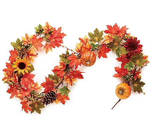 Fall Garland with Pumpkins, Sunflowers, Maple Leaves, Pine Cones, and Berries.