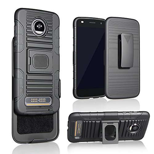 Moto Z2 Play/Force Case, Customerfirst Black Ring Grip Case Cover + Belt Clip Holster Stand for Motorola Moto Z2 Play/Force (XT1789/XT1769/XT1710) (Black)