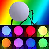 LED POI Ball NHSUNRAY Color Changing Glow Thrown Ball Light Up Mood Spinning Stress Relief Toy for Dances Parties Beach Camping Fun Indoor Outdoor Activities (white)