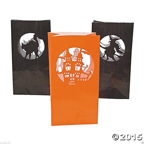 New 12 Halloween Party Decoration Pathway Walkway Paper Silhouette Luminary Bags
