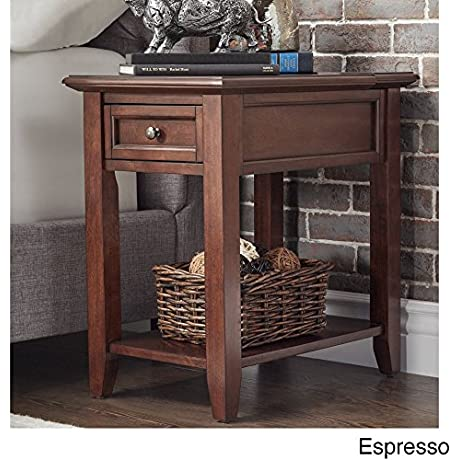 Modern Espresso Brown Wood Accent End Table Night Stand With Hidden Power Strip Charging Station Storage Drawer And Shelf Brown Includes Modhaus Living Pen