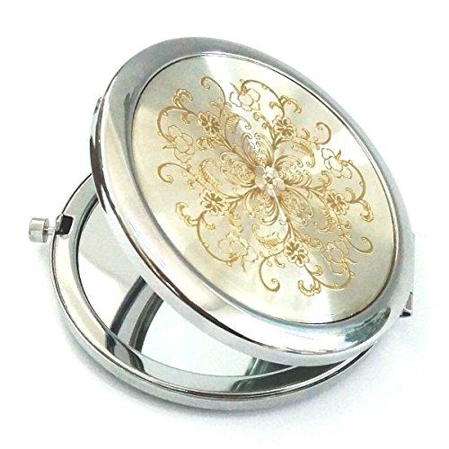 Huamulan Cosmetic Hand Portable Compact Mirror Metal Dia. 2 3/4