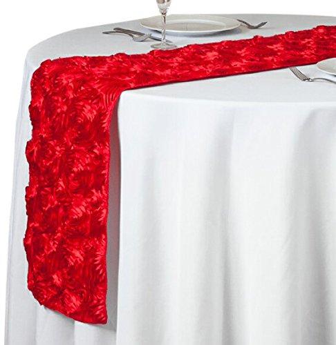 LinenTablecloth Rosette - Camino de Mesa (satén), Rojo, 14 by 108-Inch, 1
