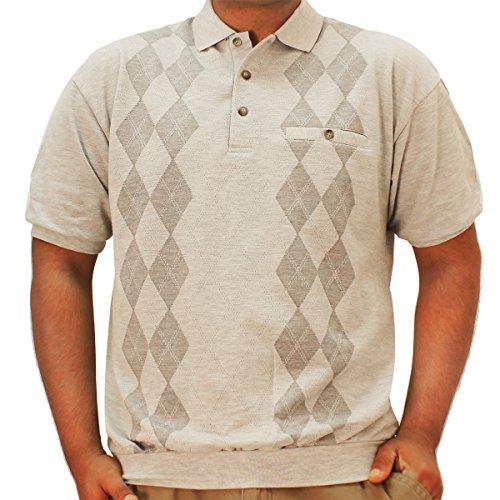LD Sport Short Sleeve Jacquard Banded Bottom Shirt 6090-351 Grey (XXLarge)