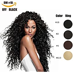 Clip in Hair Extensions Synthetic hair Clip In 140G 7Pcs/Lot Japanese Heat Resistant Fiber Hairpieces Deep Wave (1B#)
