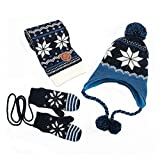 Kisbaby Boy's Fleece-lined Winter Hat Scarf and