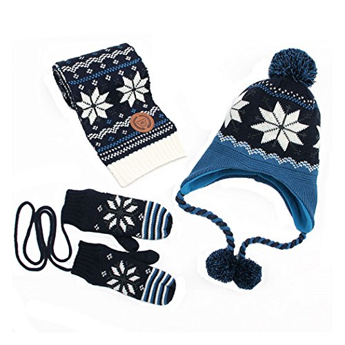 Kisbaby Boy's Fleece-lined Winter Hat Scarf and Gloves Set with Snowflake Pattern (Navy, 1-3 Years)