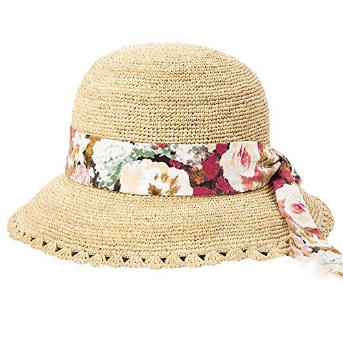 Down Home Fun Raffia Hat - Xiejuanjuan Women's Wide Brim Braided Sun Hat Women's Sunscreen Foldable Wide-Brimmed Beach Hat Summer UV Protection Sun Protection Cap (Color : Beige)