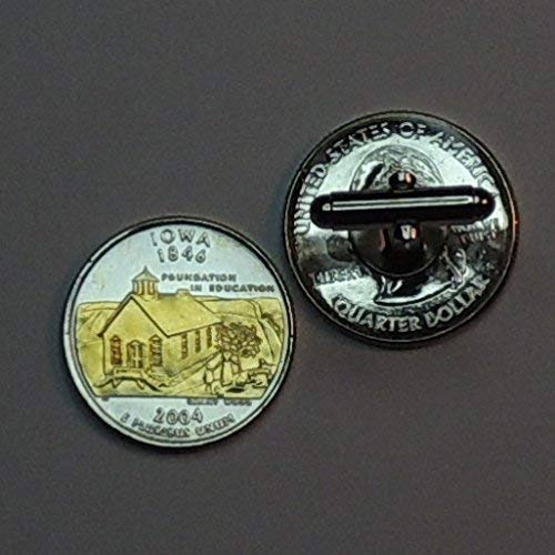 Iowa Statehood Quarter - Gorgeous 2 Toned (Uniquely Hand Done) Gold on Silver coin cufflinks for men - men's jewelry men's accessories for him - Coin Set Iowa