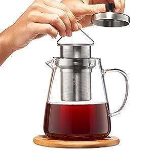 Glass Teapot Kettle with Infuser - Loose Leaf Tea Pot 32oz - Stovetop Safe Clear Tea Maker - Tea Pot Strainer for Blooming, Flowering, Loose tea - Sleeve for Warmer Tea, Coaster & E-Book