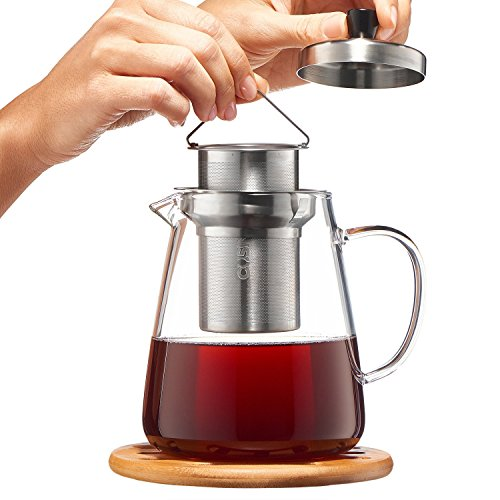 Glass Teapot Kettle with Infuser - Loose Leaf Tea Pot 32oz - Stovetop Safe Clear Tea Maker - Tea Pot Strainer for Blooming, Flowering, Loose tea - Sleeve for Warmer Tea, Coaster & E-Book