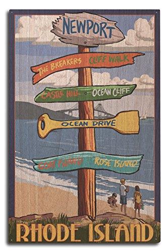 Lantern Press Newport, Rhode Island - Destinations Sign (10x15 Wood Wall Sign, Wall Decor Ready to Hang)
