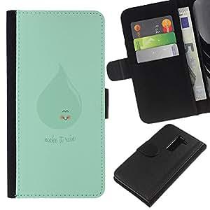 YiPhone /// Tirón de la caja Cartera de cuero con ranuras para tarjetas - MAQUILLAJE VERDE LINDO QUE LLUEVE - LG G2 D800