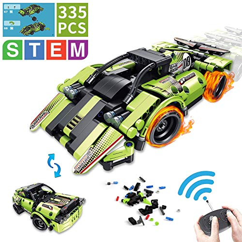 AOKESI STEM Building Toys for Kids 2-in-1 Remote Control Racer | 335 PCS Snap Together Engineering Car Kits Early Learning Racecar Building Blocks and Off-Road Best Gift for 6, 7,8 and 9+Year Old Boys