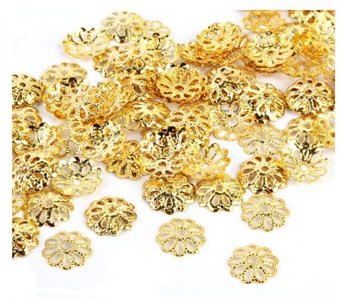 - VNDEFUL 100PCS Gold Color Open Petal Flower Bead Caps for Jewelry Making,9MM