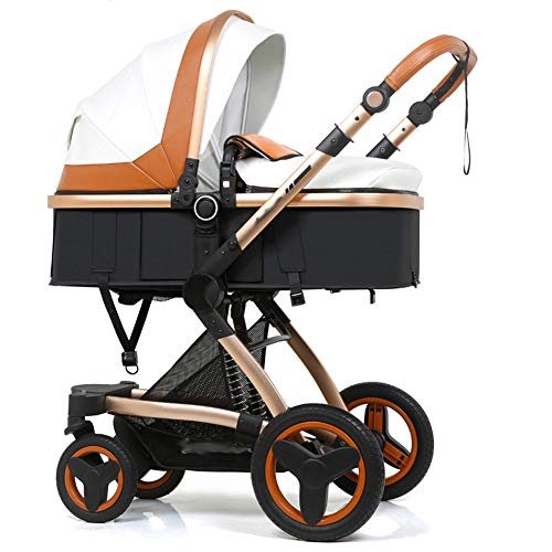 NaNa High Landscape Baby Stroller 3 in 1 Luxury Hot Mom Stroller Travel Pram Reversible Baby Trolley Pink Stroller with Car Seat,22