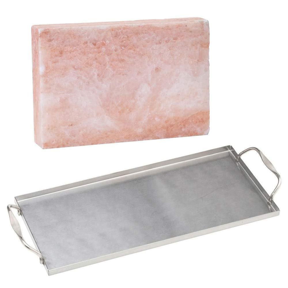 Bull Himalayan Pink Salt Block & Stainless Steel Grill to Table Plank Saver