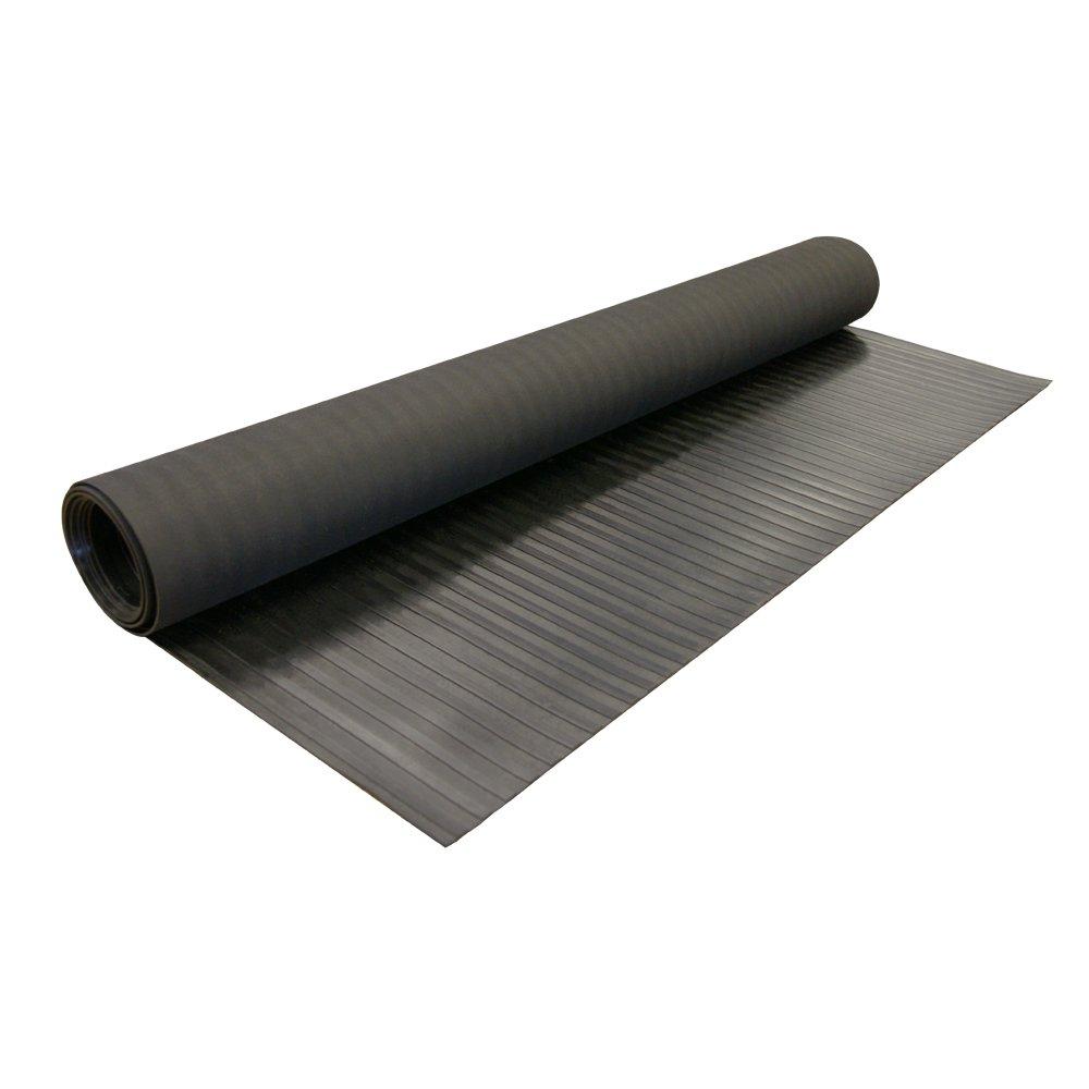 ''Wide Rib'' Rubber Flooring Mat - 1/8'' Thick x 4ft x 10ft - Black Runner Mats