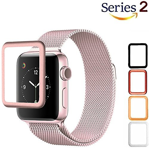 Lcd Screen Scratch Guard - Josi Minea Apple Watch [38mm] 3D Tempered Glass Screen Protector with Edge to Edge Coverage Anti-Scratch Ballistic LCD Cover Premium HD Shield Guard for Apple Watch Series 2 [ 38mm -Rose Gold]
