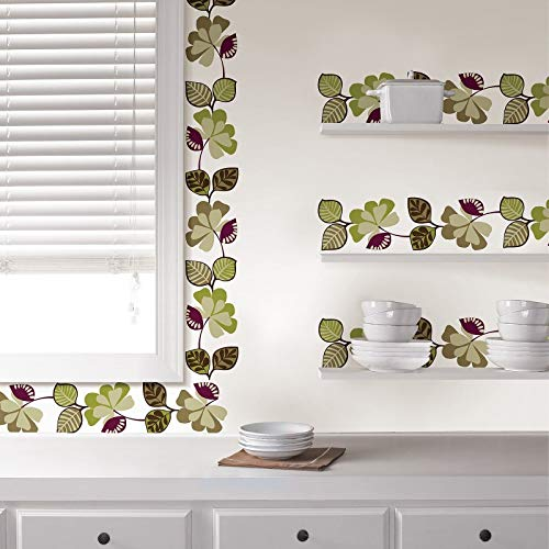 USTORE Vinyl Stickers 7 Decals Cameroon Wall Border Purple Green Leaves Ivy Room Decor ()
