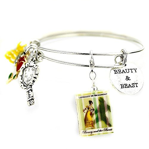 [BELLE Beauty and the Beast Clay Mini Book Expandable Bangle Bracelet by Book Beads Traditional Classic Fairy Tale Princess] (Princess Outfit Ideas)