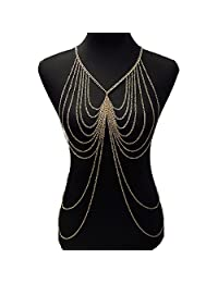 lureme® Gold Tone Womens Multilayer Body Chain Necklace Jewelry (01004112)