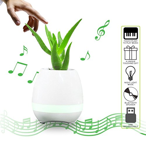 CooleedTEK [Gift Choice] Smart Bluetooth Speaker Touch Piano Music Playing Rechargeable Plant Pots Wireless Flower Pots with Night Light for Office Home Decor (without Plant),(White)