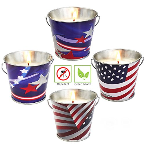 XYUT Scented Citronella Candles, USA American Flag Citronella Candle Bucket - 4oz , 4-Pack