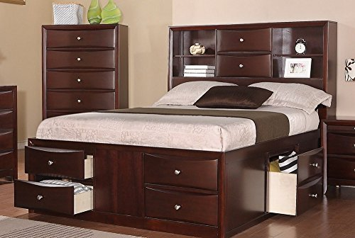 Poundex F9234EK Eastern King Bed in Espresso Finish