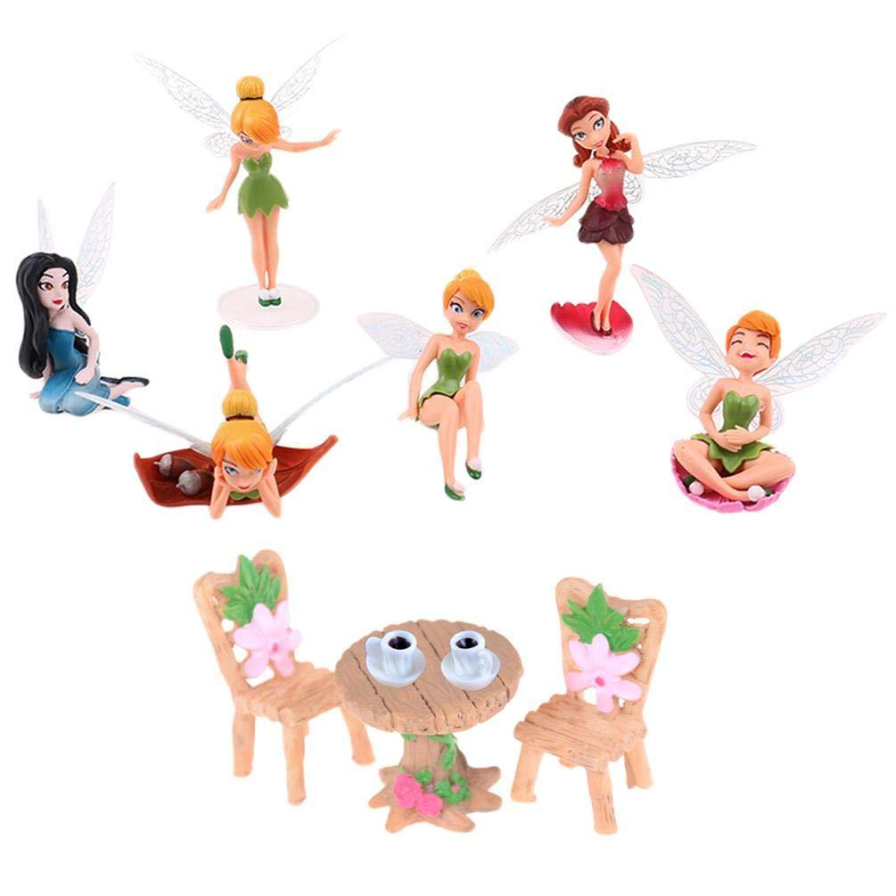IYSHOUGONG 11 Pcs/Set Miniature Fairy Garden Ornament Table Chair Tea Cup Fairy Pixie Girl Fly Wing DIY Dollhouse Decor