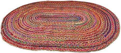 Second Nature Large Trenzado Oval Alfombra de Trapo Yute & algodón 120 cm x 180 cm: Amazon.es: Hogar