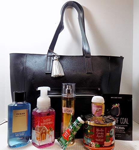 Bath and Body Works 2018 Black Friday Bag Large Black W Attached Tassle Key Chain and 7 Items Valued at 116.70