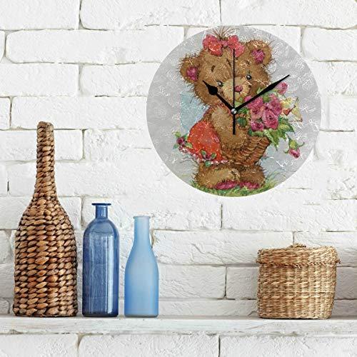 (Limiejo Mens Wall Clock Cute Drawn Teddy Bear Flowers Non-Ticking Round Silent Diamond Display Wall Clocks Painting Dial Kitchen Bedroom Decor Kids Clock Wall)