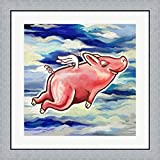 Flying Pig by Howie Green Framed Art Print Wall Picture, Flat Silver Frame, 28 x 28 inches