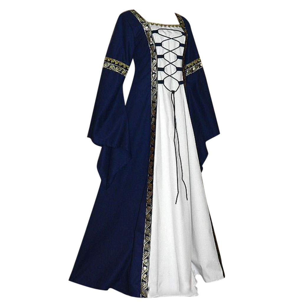 Womens Renaissance Medieval Costume Dress Lace up Long Sleeve Maxi Dresses Comfy Dress Coat with White Chemise (Navy, US:18)