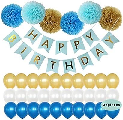 Amazon.com: Decoración de fiesta de cumpleaños con pancartas ...