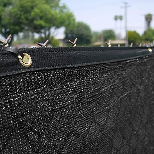 Clevr Heavy Duty 6' x 50' Wind Privacy Screen Fence, Commercial Grade Fabric Mesh with Durable Grommets 140gsm, Black | 1 Year Limited Warranty
