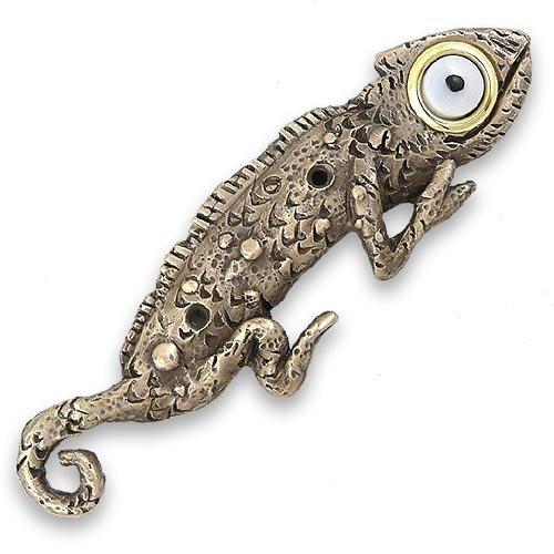 Gecko Doorbell - Bronze Chameleon Lizard Door Chime Surround with Lighted Button