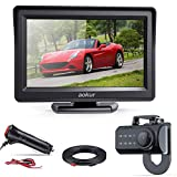 "aokur Quick Installation Car Backup Camera,No Screws Needed IP68 Waterproof Night Vision License Plate Camera Wide Angle, with 4.3"" LCD Monitor Pickup Truck Camper Parking Reverse Assistance System"
