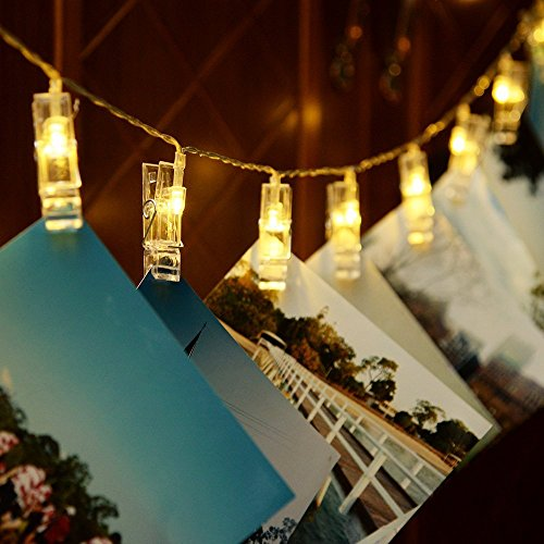 Alyattes Photo Clips String Lights Christmas Lights Starry Light Wall Decoration Light for Hanging Photos Paintings Pictures Card and Memos, Battery Powered (40 LED Warm White) by Alyattes (Image #5)