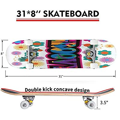 Classic Concave Skateboard Sixties Style mod pop Art Psychedelic Colorful Groovy Text Design Longboard Maple Deck Extreme Sports and Outdoors Double Kick Trick for Beginners and Professionals : Sports & Outdoors