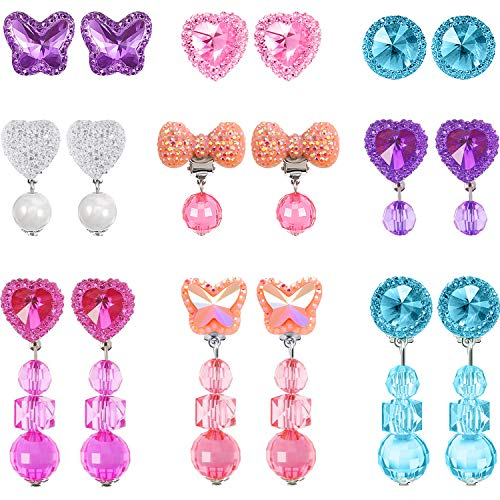 Clip On Earrings Kids - Hicarer 9 Pairs Girls Clip-on Earrings