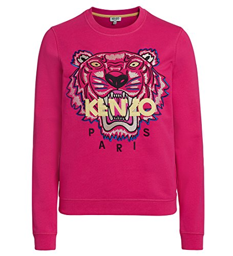 Kenzo Women's Fuchsia Sweater With Tiger and Logo S(INT)-S(US) (Tiger Cotton Sweater)